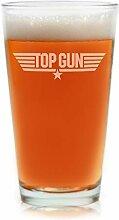 Filme auf Glas–Top Gun Film Gravur Logo Pint