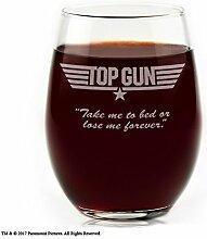 Filme auf Glas-Top Gun Movie Logo mit Zitat