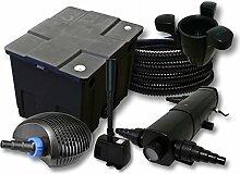 Filter Set 12000l Teich,36W Teichklärer,CTF ECO 20W Pumpe 25m Schlauch Skimmer SK40 Springbrunnen
