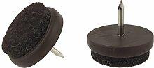 Filz Glide Pads strapazierfähig Nail Knock In Möbel Stuhl Tisch Bein Füße kratzfreiem Protektoren Möbelgleiter braun rund erhältlich Größen 17, 21, 24, 27und 32mm Durchmesser Made in Germany.