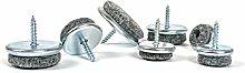 Filz-Pads Boden-Gleiter mit Metall-Stuhl-Füße Beine, Schraub- und Hotels Restaurants Bars Cafés mit 18mm, 20mm, 22mm, 24mm, 25mm, 30mm und 35mm Durchmesser, hergestellt in Deutschland