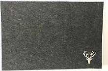 Filz Platzset Hirsch rechteckig in dunkelgrau mit
