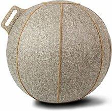 Filz-Sitzball VLUV ergonomisch aus 100% Merino-Wollfillz Farbe Greige-Melange / Braun