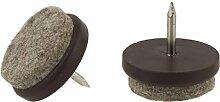 Filz weich Wolle Glide Pads strapazierfähig Nail Knock In Möbel Stuhl Tisch Bein Füße kratzfreiem Protektoren Möbelgleiter braun rund erhältlich Größen 21, 24, 27und 32mm Durchmesser Made in Germany.