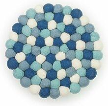 Filzkugel Untersetzer blau weiß mint