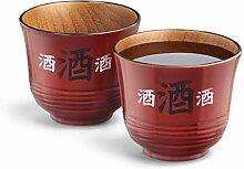 Final Touch Sake-Becher aus Holz, handgefertigt,