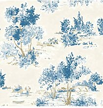 Fine Decor FD22052 Tapete Maison Chic Trees, Blau
