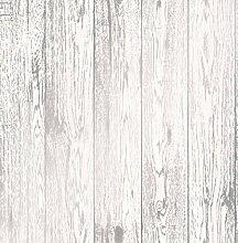 Fine Décor fd41957Loft Holz Tapete, Weiß