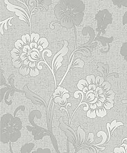 Fine Décor fd41966Quarz Floral Tapete, silber