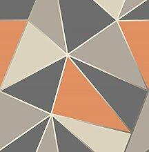 Fine Décor FD42002UK Apex Geo Seitenwand-Tapete, brünniertes Orange