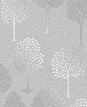 Fine Décor fd42200Quarz Baum Tapete, silber