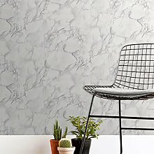 Fine Decor FD42274 Marblé-Tapete, einfarbig, Weiß