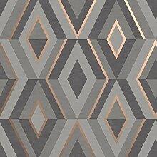 Fine Décor FD42607 Shard Geo Charcoal/Rose Tapete