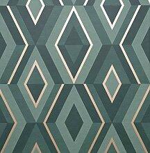 Fine Décor FD42609 Shard Geo Emerald/Gold Tapete