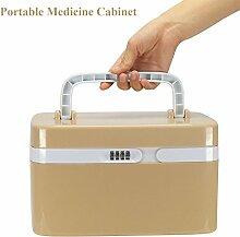 FINE DRAGON Hochwertig Medikamentenschrank Arzneischrank Medizinschrank Tragbare Hausapotheke Aufbewahrungbox Verbandkasten Tablettenbox mit Zahlenschloss 28.5x20.5x18cm,Khaki