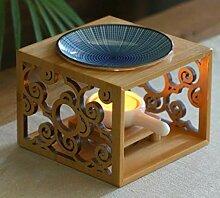 Fine-X Bambus Holz Hohl Duftlampe Ölofen Aroma