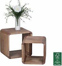 FineBuy 2er Set Satztisch Massiv-Holz Akazie