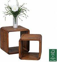 FineBuy 2er Set Satztisch Massiv-Holz Sheesham