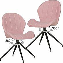 FineBuy 2er Set Vintage Design Esszimmerstühle YURI 360° drehbar rot gepolstert | Polsterstühle mit Lehne und Metallbeinen | Doppelpack Küchenstühle