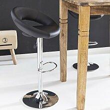 FineBuy Barhocker KORSIKA Hocker Bezug Kunstleder schwarz höhenverstellbar Design Barstuhl mit Rückenlehne Chrom 110 kg ohne Rollen verstellbar Designer Tresenstuhl mit Lehne drehbar für Zuhause X-XL