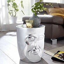 FineBuy Beistelltisch Maka 32,5x39x35 cm Aluminium