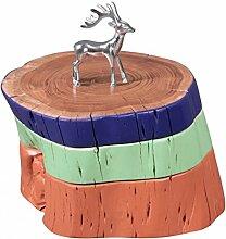 FineBuy Beistelltisch Voll-Holz Akazie Holzscheiben Bunt lackiert Retro Wohnzimmer-Tisch Design Sitz Schemel Couchtisch Massiv-Holz Unikat Natur-Produkt Wohnzimmer-Möbel Sitzblock farbig Echtholz
