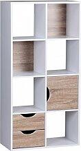 FineBuy Bücherregal 60 x 120 x 29 cm Weiß Sonoma