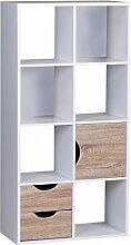 FineBuy Bücherregal 60 x 120 x 29 cm Weiß Sonoma Eiche mit Schubladen und Tür