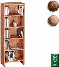 FineBuy CD Regal Massivholz Standregal 90 cm hoch CD-Aufbewahrung 5 Fächer Bücherregal Natur Landhaus-Stil