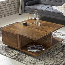 FineBuy Couchtisch Box Sheesham Massiv Holz 88 x