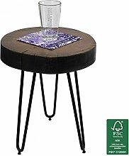 FineBuy Design Beistelltisch 30x30x41 cm Sheesham Massivholz FSC zertifiziert | Moderner Wohnzimmer Anstelltisch mit Metallbeinen | Dreibein Dekotisch braun mit Baumstammscheibe | Couchtisch klein