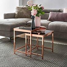 FineBuy Design Couchtisch PATRIS Glas Kupfer 2er
