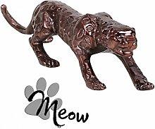FineBuy Design Deko Figur Panther 60 cm Aluminium Farbe Bronze FB40381