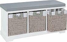 FineBuy Design Garderobenbank BASK mit 3 Körben Stauraum Bezug gepolstert Sitzbank in grau | Flurbank Shabby Chic 100 x 50 x 35 cm | Sitzbank mit Ablage