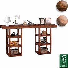 FineBuy Design Konsolentisch Massivholz mit 6 Fächern | Schreibtisch mit Ablage 150 x 80 x 40 cm | Moderne Hochwertige Konsole aus Sheesham Palisander Holz | Flur Konsole für Eingang