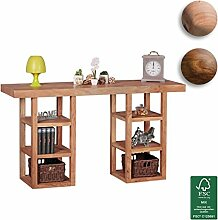 FineBuy Design Konsolentisch Massivholz mit 6 Fächern | Schreibtisch mit Ablage 150 x 80 x 40 cm | Moderne Hochwertige Konsole aus Akazie Holz | Flur Konsole für Eingang