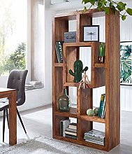 FineBuy Design Massives Bücherregal Sheesham 180