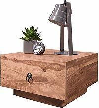 FineBuy Design Nachttisch Massiv-Holz Akazie