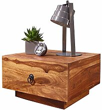 FineBuy Design Nachttisch Massiv-Holz Sheesham