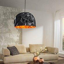 FineBuy Design Pendelleuchte GLAME schwarz / gold Ø 40 cm Deckenlampe mit Metall-Schirm | Moderne Hängelampe Loft | Pendellampe Industrie | Deckenleuchte E27 IP20