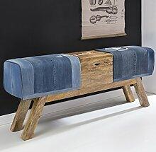 FineBuy Design Turnbock Sitzbank DENIM Blau Aufbewahrungsfach 120 x 29 x 53cm | Turnhocker Bank in Jeansoptik Klappfach |Hocker Garderobenbank Sitzhocker Springbock Turnbank Jeansbank