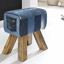 FineBuy Design Turnbock Sitzhocker DENIM Blau 40 x 30 x 47 cm | Turnhocker Hocker Lederhocker Springbock mit Holzbeinen | Beistellhocker Fußhocker Jeanshocker