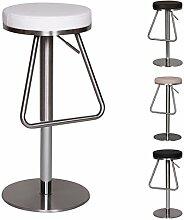 FineBuy Edelstahl Barhocker OHIO Hochwertig | Edler Gastro Barstuhl Sitzfläche Rund 360° Drehbar | Exklusiver Tresenstuhl mit Fußstütze Standfest | Sitzhöhe 54-79 cm höhenverstellbar | Farbe: Weiß