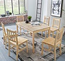 FineBuy Esstisch mit 6 Stühlen Kiefer Holz Braun Tisch 120 x 73 x 70 cm | Esszimmerset 7 teilig | Esstischset Küche & Esszimmer | Esszimmergarnitur für 6 Personen | Tischgruppe Natur Essgruppe Landhaus