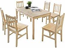 FineBuy Esstisch mit 6 Stühlen Kiefer Holz Braun