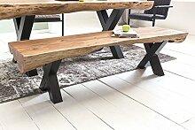 FineBuy Esszimmerbank Akazie Landhaus-Stil Voll-Holz 170 x 46 x 46 cm | Design Sitzbank rechteckig | Bank für Esszimmer Baumstamm | Küchenbank 3-4 Personen
