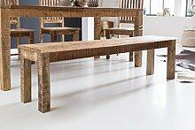 FineBuy Esszimmerbank RUSTI 120 x 45 x 38 cm Mango Massiv-Holz | Design Landhaus Sitzbank | Holzbank für Esszimmer | Küchenbank 2 - 3 Personen