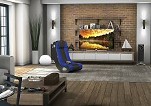 FineBuy GAMER Soundsessel 2.1 | Gaming Multimedia Rocking Chair | Music Rocker Soundchair | Multimediasessel - Farbe:Blau/Schwarz