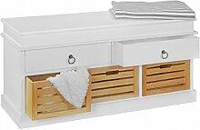 FineBuy Garderobenbank Holz Kommode LARA Weiß 2 Schubladen Stauraum 100 x 50 x 35 cm | Truhenbank im Landhaus Stil | Flurbank Sitzbank