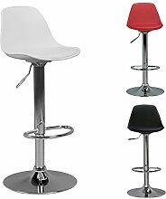 FineBuy HAINAN | Barhocker mit Kunstleder Weiß | Hocker ist höhenverstellbar | Design Sitzhocker Barstuhl mit Rückenlehne | Tresenhocker Tresenstuhl mit Schalensitz | Barmöbel für Hausbar